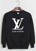 Свитшот Louis Vuitton черный с белым логотипом , унисекс (мужской,женский,детский)