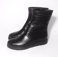 Ботинки женские зимние высокие натуральная кожа/замша внутри – мех шерстяной черные/серые Uk0337