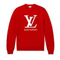 Свитшот Louis Vuitton красный с белым логотипом , унисекс (мужской,женский,детский)