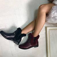 Ботинки женские зимние натуральные кожаные/замшевые с мехом цвета: черный, коричневый, бордовый Uk0413