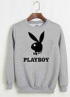 Свитшот Play Boy серый с черным логотипом, унисекс (мужской, женский, детский)