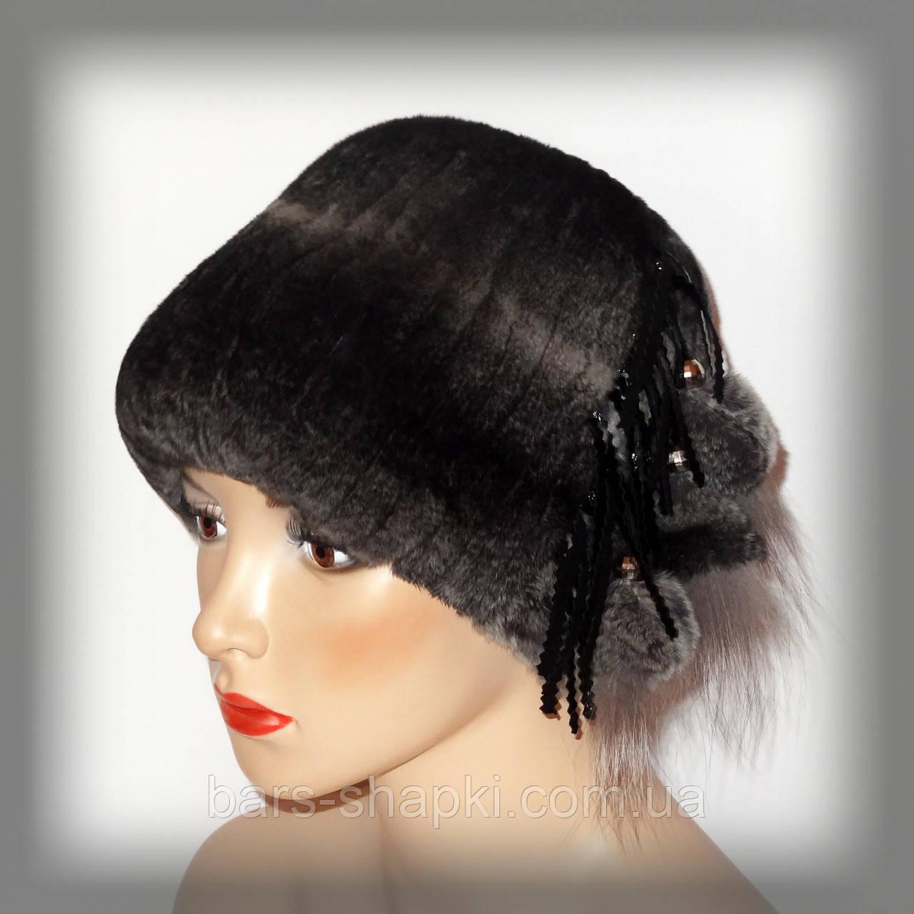Меховая женская шапка из кролика Rex Rabbit(кубанка тёмно серая)
