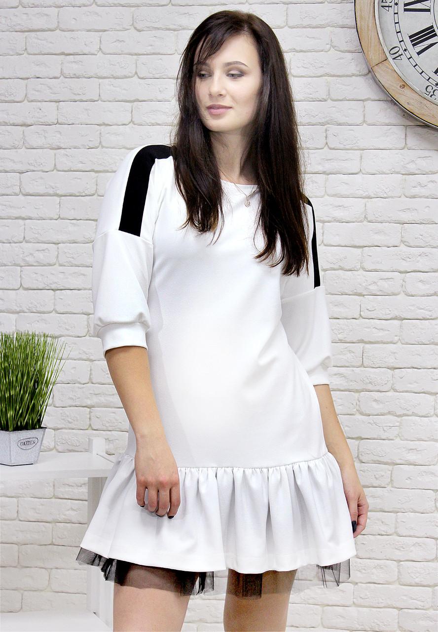 a29c1b29276 Платье белого цвета свободного кроя юбка сборка с черным фатином -  Интернет-магазин одежды и