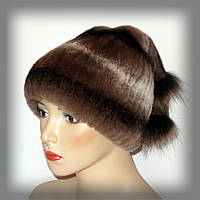 Меховая шапка из кролика c хвостиком (коричневая), фото 1
