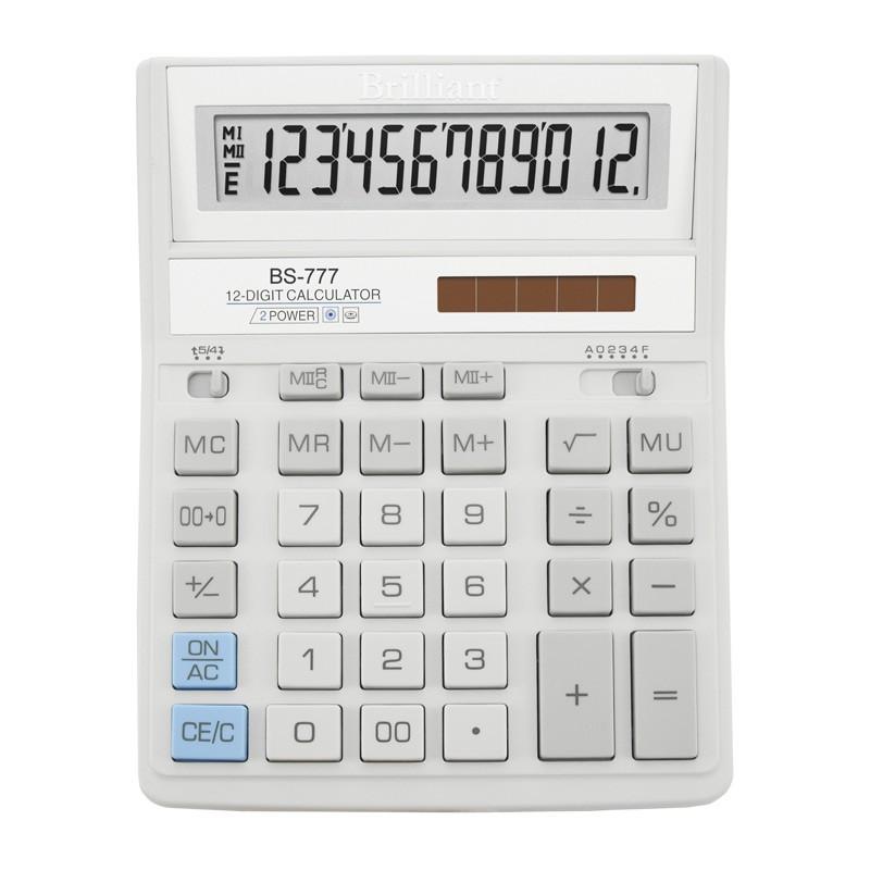 Калькулятор Brilliant 12 разрядов 2-питан. белый BS-777WH