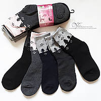 """Жіночі махрові шкарпетки 635-1 """"ялинки"""". Розмір 35-38"""