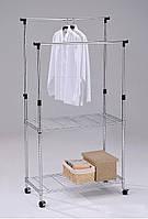 Стойка для одежды стеллаж напольный передвижной