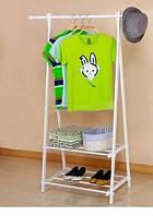 Стойка вешалка для одежды с полками металл