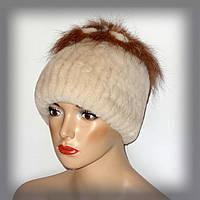 Меховая женская шапка из кролика Rex Rabbit (молочная)