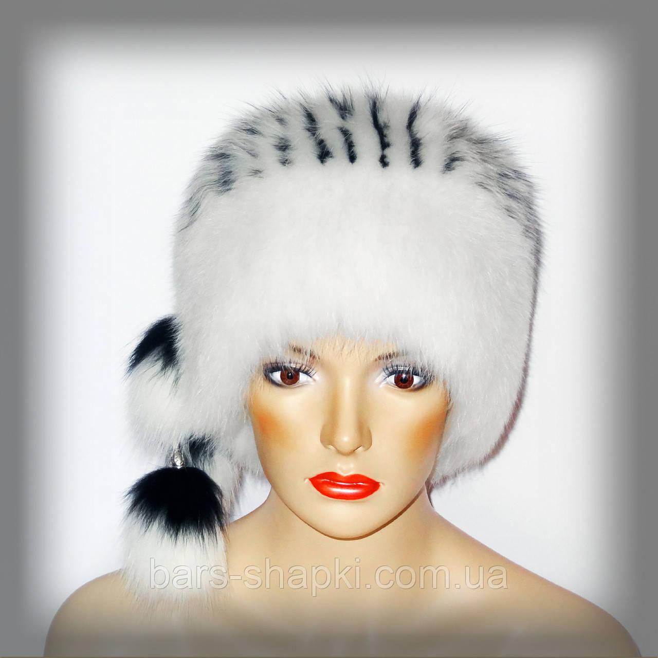 Женская шапка из белого песца