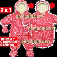 Детский со съёмной овчиной ОСЕННИЙ ЗИМНИЙ ВЕСЕННИЙ термокомбинезон-трансформер р. 86 а как конверт р. 74 3932