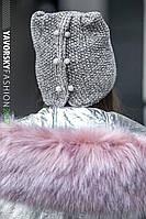 Женская зимняя вязанная шапка с пирсингом