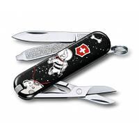 ГОД СОБАКИ 2018 Складной швейцарский нож Victorinox CLASSIC VX Colors VX0.6223.L стильный принт отличн подарок