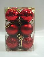 Красный шарик-новогодний декор(1-упаковка=12штук)d=3см