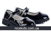 Детские черные лаковые туфли 26-31р
