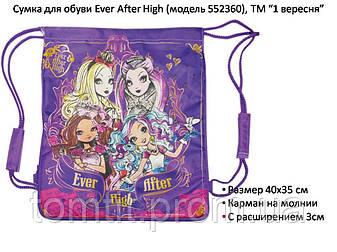 """Сумка для обуви с карманом и с расширением """"Ever After High"""" (модель 552360), ТМ """"1 вересня"""", фото 2"""