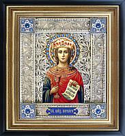 Святая Варвара именная икона скань