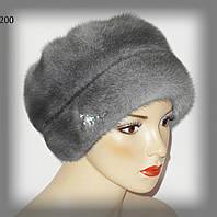 Меховая шапка,кубаночка из норки (сапфир)