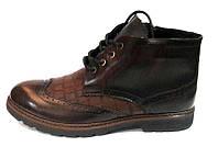 Ботинки мужские классика зимние кожаные внутри натуральный мех коричневые Uk0509