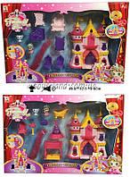 Замок 1206E/F  2 вида, свет/звук, две фигурки, 7 предметов мебели, в коробке 48*32*8 см.