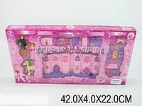 Домик CB686-13(1111392) свет/музыка, принц, принцесса, кровать, стол + 4 стула, диван, ванна в коробке 42*4*22 см.