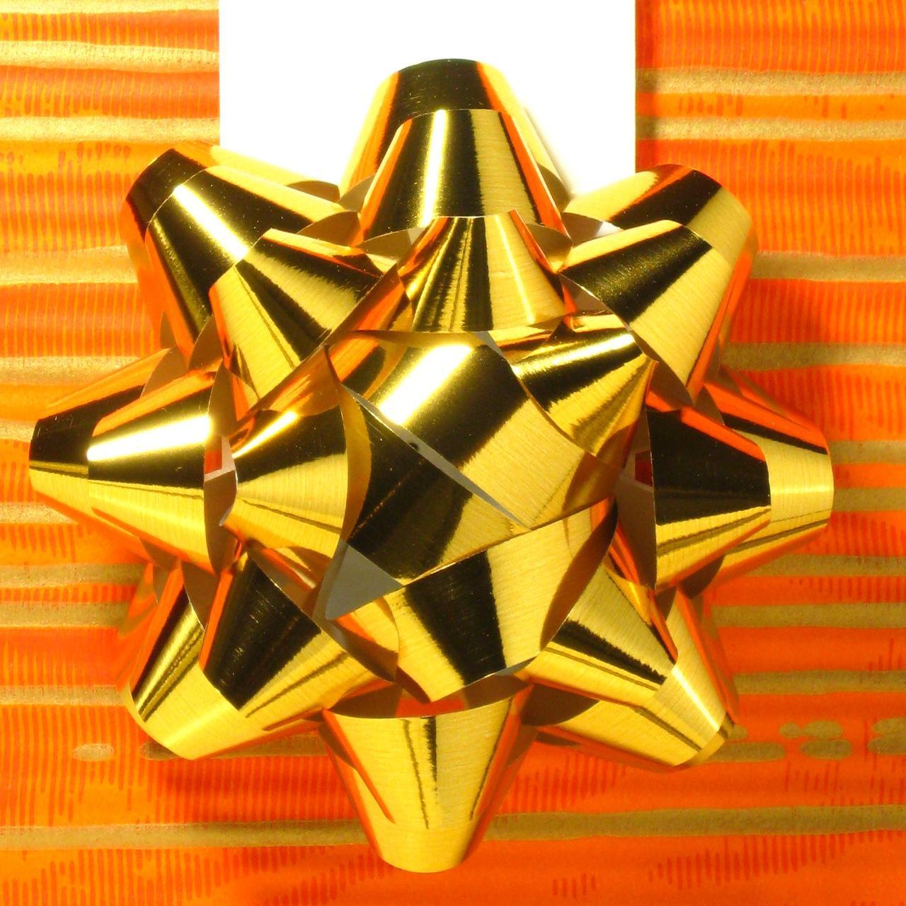 Банты самоклеящиеся, золотые, полипропиленовые, с лентой 10 мм