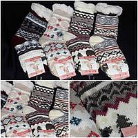 Теплые женские носочки со стопперами, на искусственном меху, рисунок разный, 39-42 р-ры, 205/143