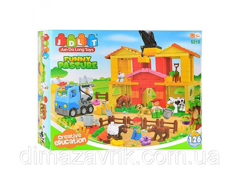 """Конструктор JDLT 5210 (Аналог Lego Duplo) """"Веселая ферма""""126 деталей"""