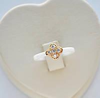 Керамическое кольцо Xuping позолота 18к с белыми цирконами размер 16.5.