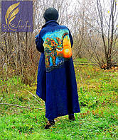 Рубашка макси из натурального льна с ручной росписью (380)