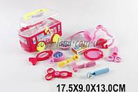 """Детский набор доктора врача """"Автобус"""" 6389A (1517938) 10 инструментов: стетоскоп, градусник, ножницы в чемоданчике 17,5*9* см."""