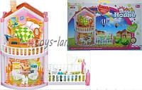 Домик для кукол OS956  2-этаж, 77 деталей, фигурки, кресла, ванная, собака, лежак, трюмо, балкон в коробке
