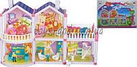Домик для кукол OS958  2-этажный, 127 деталей, фигурки, ванна, детская, кресла, диван, трюмо, балкон, в коробке