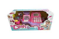 Кассовый аппарат детский игровой набор касса магазина 35501  на батарейках, с ЛСД-дисплеем, кассовая лента, товар, в коробке