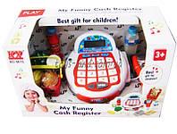 Кассовый аппарат детский игровой набор касса магазина 5615N  на батарейках, свет, карточка, сканер, корзинка с  продуктами, в коробке