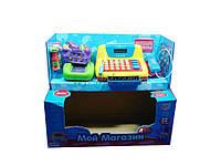 Кассовый аппарат детский игровой набор касса магазина 7016 мой магазин на батарейках, бутылочки, корзина с продуктами, монеты, в коробке 38*18*18 см.