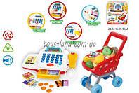Кассовый аппарат детский игровой набор касса магазина 66060 батарейках, с корзинкой, продуктами, в коробке