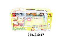 Кассовый аппарат детский игровой набор касса магазина 888A  на батарейках, сканер, весы, карточка, корзинка, продукты, в коробке 36*19*17 см.