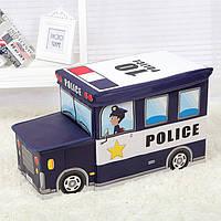 Чудо ящик-корзина для игрушек, пуфик -детский, С КАПОТОМ  Полиция