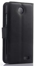 Кожаный чехол-книжка для Lenovo A516 черный, фото 2