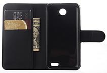 Кожаный чехол-книжка для Lenovo A516 черный, фото 3