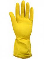 Перчатки хозяйственные латексные с хлопковым напылением S, M, L желтые Бонус