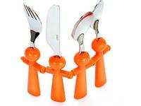 Набор столовых предметов детский 4 предмета 15 см. с пластиковой оранжевой ручкой Lagarto