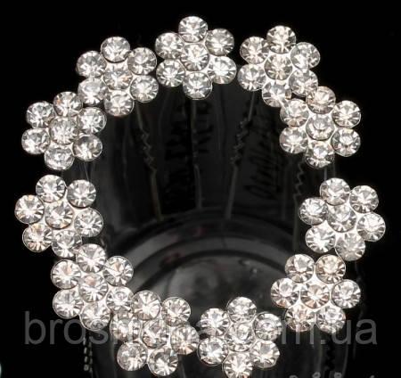 Шпильки для волос с цветочком из белых камней d 1 см 20 шт/уп