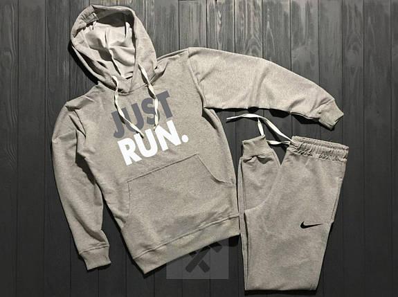 Весенний костюм спортивный Nike Just Run с капюшоном серый топ реплика, фото 2