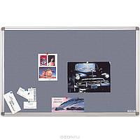 Доска для объявлений текстильная размером 90х120 см, цвет серый. Алюминиевая рама S-line