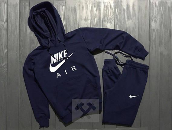 Весенний костюм спортивный Nike Air с капюшоном темно-синий топ реплика, фото 2
