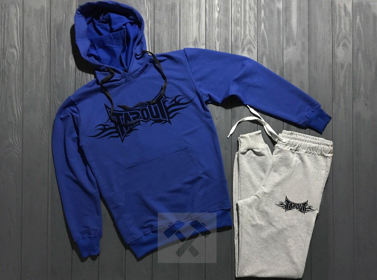 Весенний костюм спортивный Tapout с капюшоном синий топ реплика