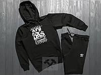 Весенний костюм спортивный Adidas с капюшоном черный топ реплика