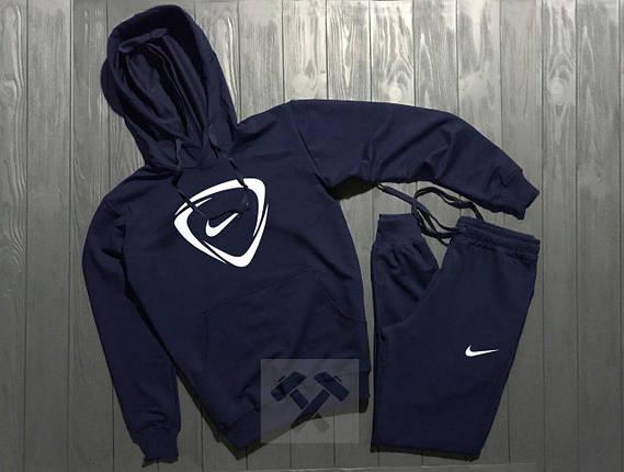 Весенний костюм спортивный Nike с капюшоном темно-синий топ реплика, фото 2